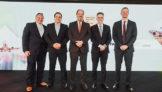 Rui Aquino, presidente da TwoFlex, Eduardo Busch, diretor-executivo da VoePass, Eduardo Sanovicz, presidente da ABEAR, Paulo Kakinoff, presidente da GOL, e Jerome Cadier, CEO da LATAM